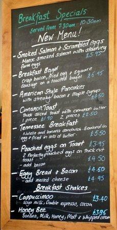 The Velvet Lobster's breakfast specials menu