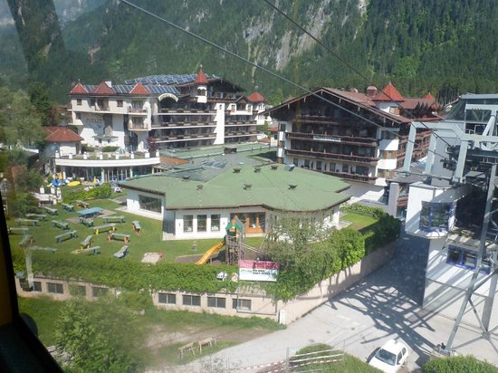 Sporthotel Strass: View of hotel from Penken cable-car.