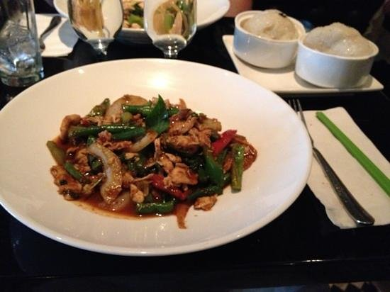 Room Service: Spicy basil stir-fry and sticky rice