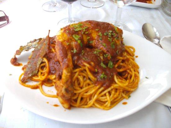 Restaurant de L'ile : spghetti au poulet bien relevé
