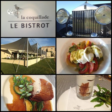 Le Bistrot de la Coquillade: Thoughtful design to the new Bistrot, the luxury surrounds (always nice cars) and eye catching f