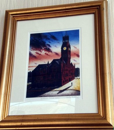 The Royal Hotel: Print in the bar: a painting by John Diffin of Barrow Town Hall