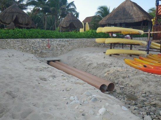 El Dorado Royale, by Karisma: exposed drainage pipe by activities hut