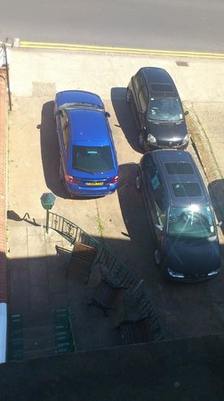 Greystones Hotel: view from window, cars parked at the front