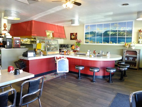 Red Rooster Cafe: Counter space, tables are left & right outside frame