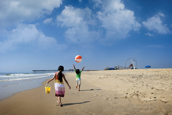 Ocean City, on Maryland's Eastern Shore boasts a 10-mile beachfront, a three-mile boardwalk