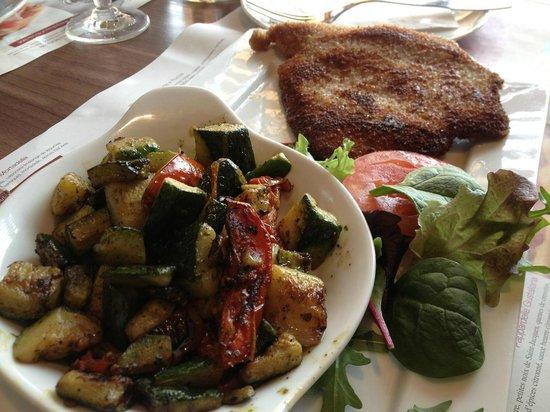 Del Arte Serris : Escaloppe à la milanaise avec legumes marinés