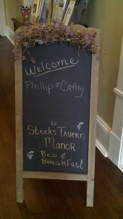 Steeles Tavern Manor Bed and Breakfast: What a nice touch!