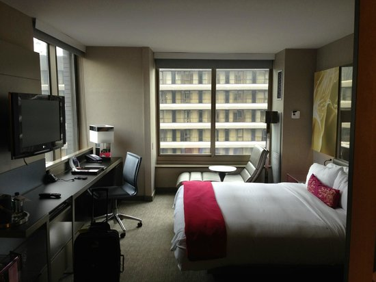 our cool corner room on the 54th floor times square is. Black Bedroom Furniture Sets. Home Design Ideas