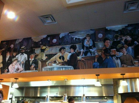 Mia Bella Trattoria: Mural above kitchen