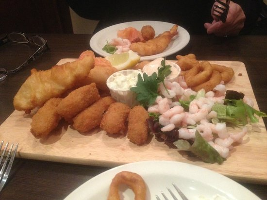 The Stables Restaurant: The huge seafood platter (minus a few nibbles.)