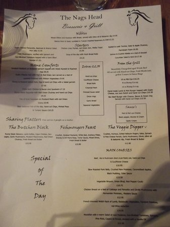 The Nags Head: The menu