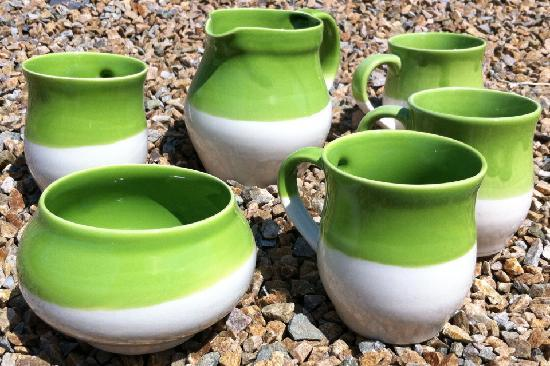 Alt na Croi Pottery: Tea Set in Lime Green on a sunny Achill day!