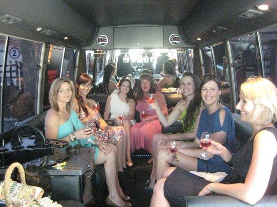 Relaxing inside Black Rose Limousine