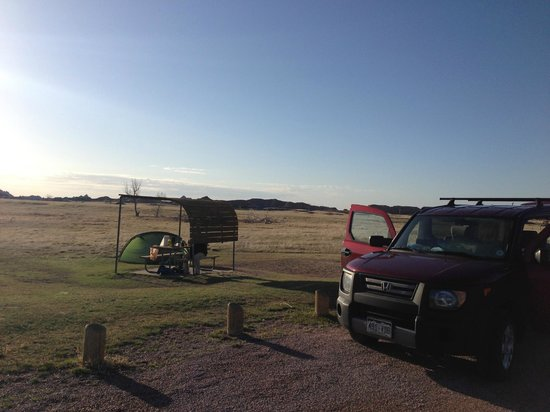 Sage Creek Campground: our camp - slept in car, put suppies in tent