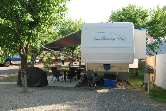 Auburn Gold Country RV Park : Crushed rock space with patio slab.