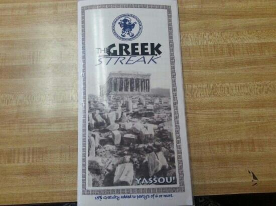 The Greek Streak: Menu