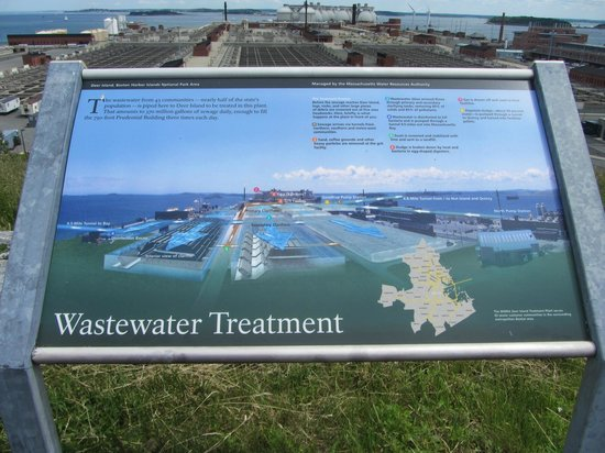 Deer Island HarborWalk: Sign about the waste treatment plant