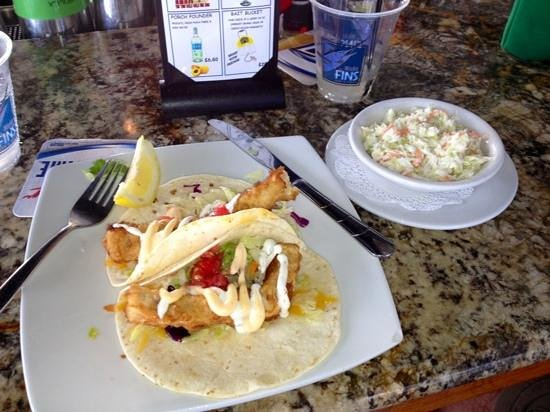 Micky Fins: Fish tacos with side of cole slaw