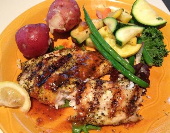 South Beach Grill: Lemon herbed tilapia with vegetables