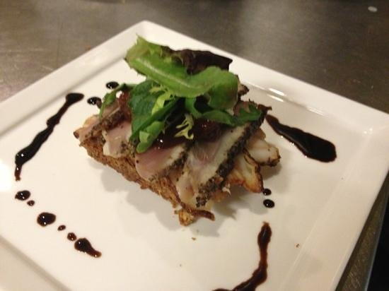 Bertrand's Bistro: duck pastrami with cured pork belly