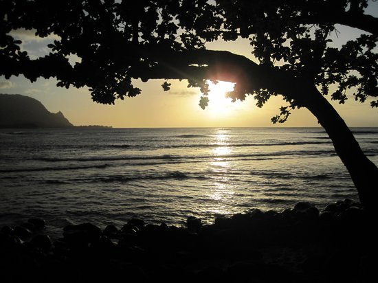 St. Regis Princeville Resort: Sunset view from the beach