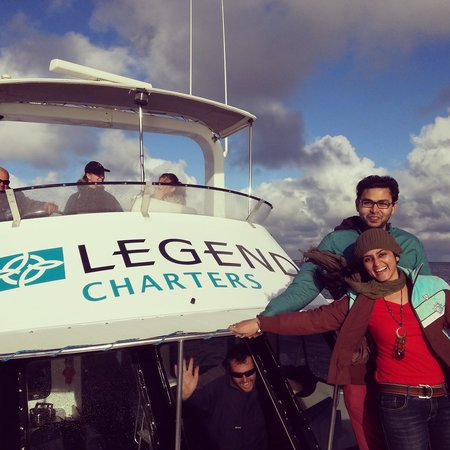 Legend Charters: Me and my Husband at the front deck of our Boat.. after an exciting whale watching session on ou