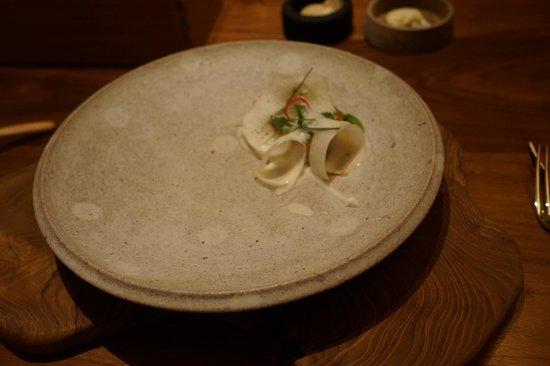 Fujiya 1935: Rosy seabass, butterbur from Osaka Wasabi from Hikimi