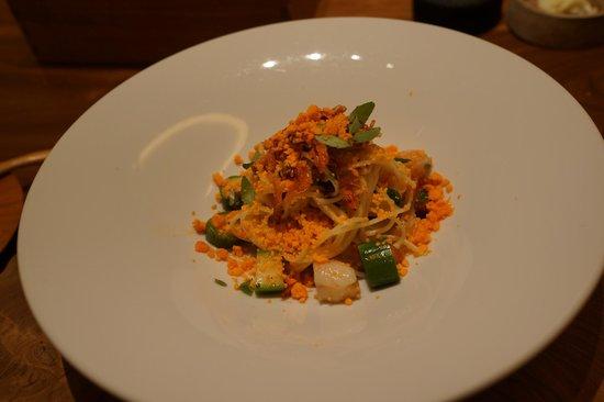 Fujiya 1935: Hand stretching pasta, shrimp, green asparagus condensed egg yolk