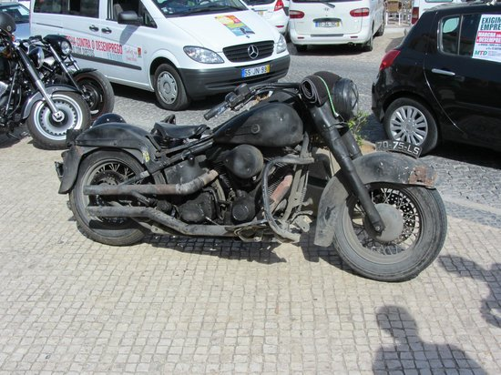Castelo De Loule: Outside Loulé indoor market. A Harley Davidson hardtail twin, possibly 1200cc
