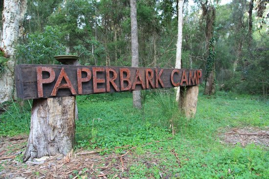 Paperbark Camp: The sign inside the camp
