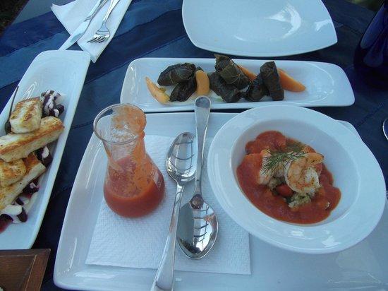 Essence Restaurant: Starters: Dolmades, Halloumi & Gazpacho