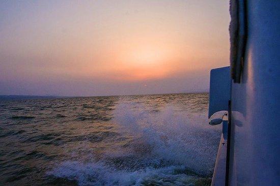 Pleasure Boat at Lake Shinji- The Hakucho: sunset seen from the deck