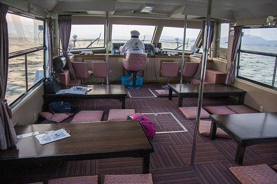 Pleasure Boat at Lake Shinji- The Hakucho: inside the boat