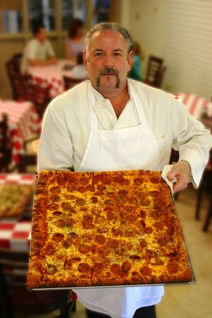 Gator'z Pizza and Wings: Mega Pizza served at Gatorz Pizza at Hilton Head Island Beach & Tennis Resort