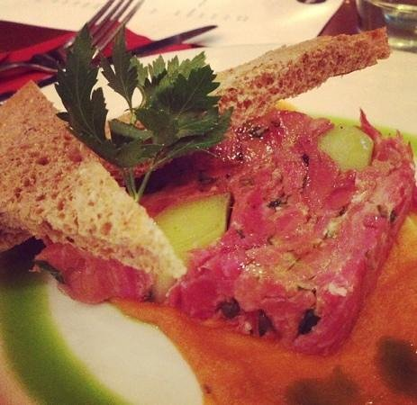 The Queens Arms: Ham Hock and Leek Terrine with granary toast and butternut squash and chilli purée