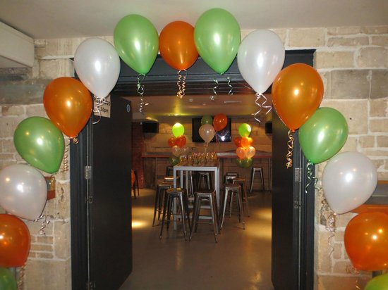 The Cork: Pool Room with balloon decorations