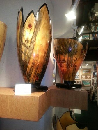 Village Galleries in Lahaina: Amazing wood work by Keola Sequeria - cooke pine and wenge