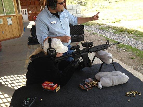 Jackson Hole Shooting Experience : My mom kinda looks like Sarah Connor here, eh?