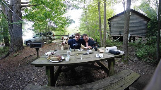 Prospect Mountain Campground : Dinner on the picnic table - steaks & corn made on open fire