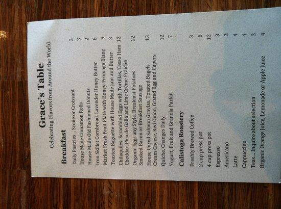 Grace's Table : Breakfast menu
