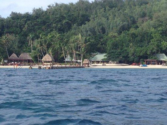 Turtle Island: main beach from boat