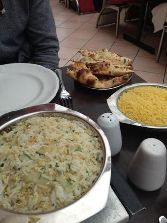 Indian Ocean Restaurant and Takeaway: From the front - Egg fried rice, Pilau rice, garlic naan