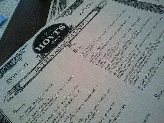 Hoyt's Tavern: Menu