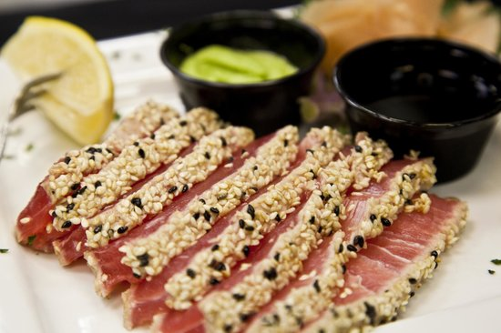 Deck House: The Sesame Seared Sashimi Tuna. It may be a tongue twister, but it's also an appetizer!