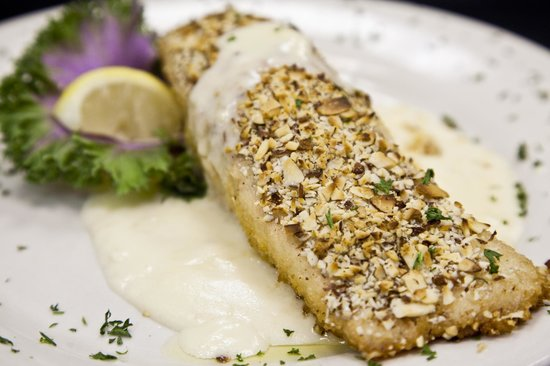 Deck House: The Almost Encrusted Salmon with Lemon Beurre Blanc sauce.