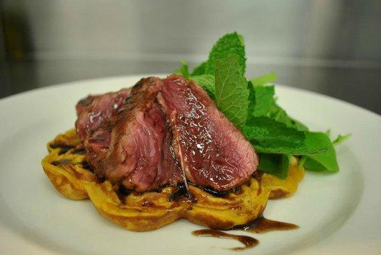 Quench Restaurant + Wine Bar: Lamb Rump served on a Kumara Waffle
