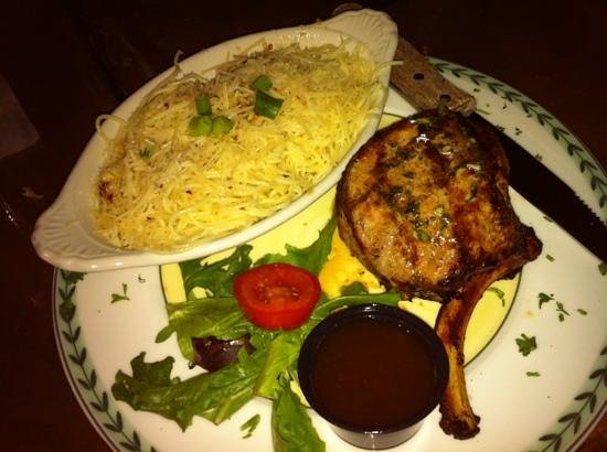 Bacchus Food and Drink: Frenched pork chop w/ pasta bordelaise