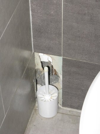 "Hotel Bellevue : Hole in Toliet wall ""cleverly"" disguised"