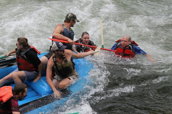 Appalachian Rivers Raft Company: I am keeping my foot wedged in and not moving until everyone's back on!